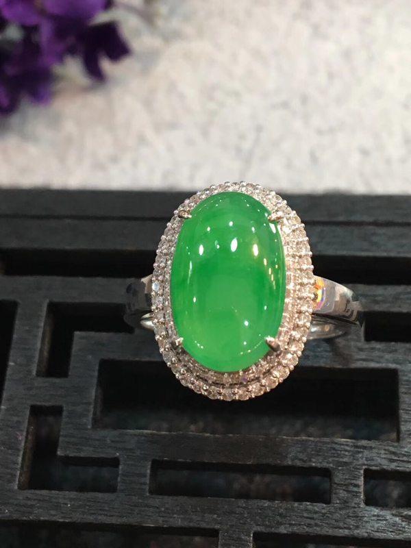 大满绿冰种 翡翠戒指16.6*12.3*8.6*12.9*8.5*2.9mm