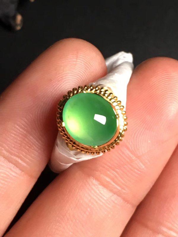 9.3-8.2-4毫米高冰阳绿 缅甸天然翡翠戒指