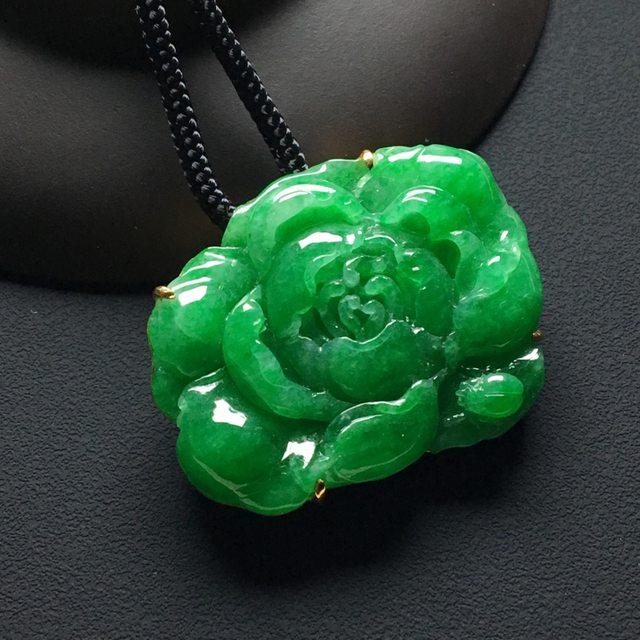 巧雕阳绿 花开富贵翡翠吊坠 18k金镶嵌 整体尺寸:28.8-37-8毫米