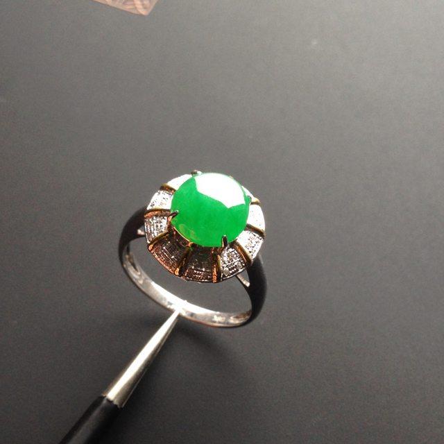 冰种阳绿 翡翠戒指 8-7.5-2.8毫米