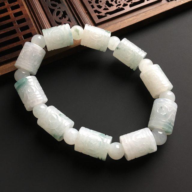 飘花路路通翡翠手链 单个尺寸15-12毫米