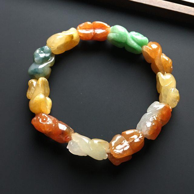 多彩灵猴翡翠手链 单个16-10-7毫米图8