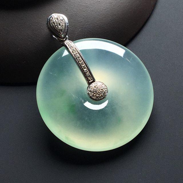 冰种飘花平安扣 翡翠挂件 尺寸:30-6.2毫米