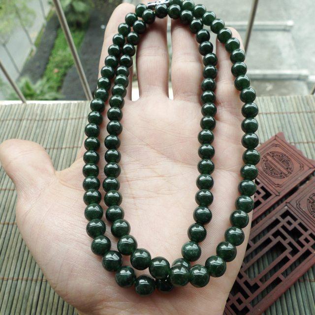 满色圆珠翡翠项链 珠大取一7mm