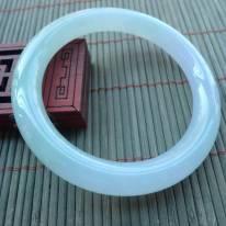 冰种清秀双彩圆条翡翠手镯56-9.4-9.7mm
