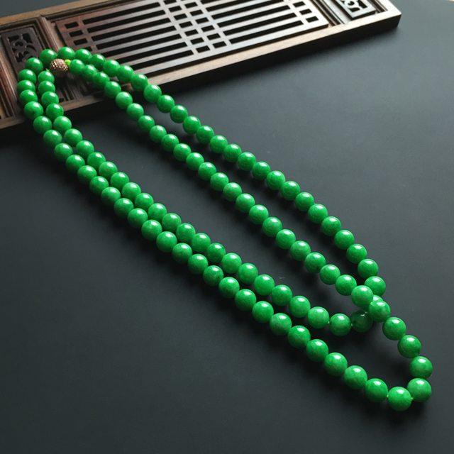 细糯种满色阳绿翡翠佛珠项链 108颗