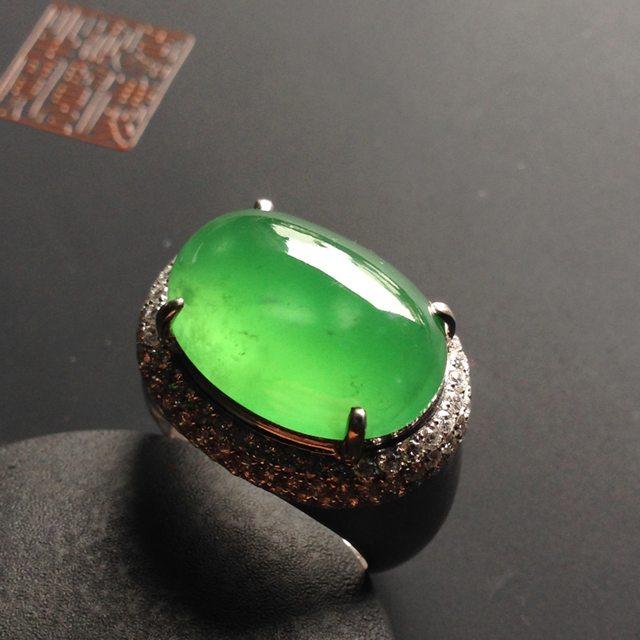 19-13-7寸高冰种阳绿 缅甸天然翡翠戒指