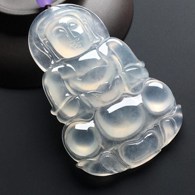 冰种荧光观音 翡翠挂件 尺寸:68-43-6毫米