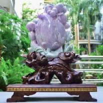 翡翠A货 老坑春带彩 紫气东来福禄寿寿桃摆件
