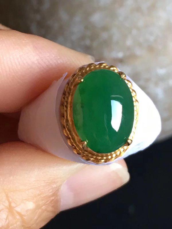 老坑冰种阳绿色12.8-9.3-4.7mm