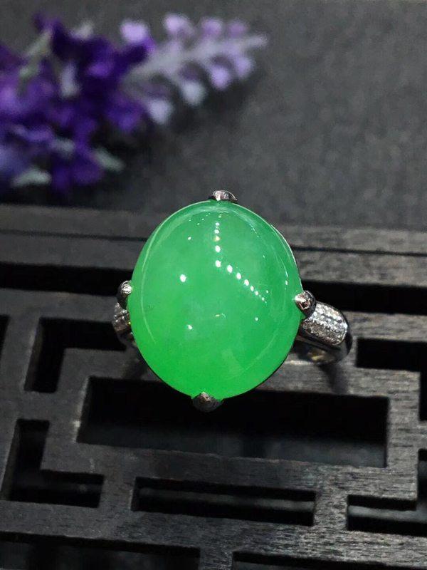 冰糯种大满绿 缅甸天然翡翠戒指 15.4*13.6*4.5mm