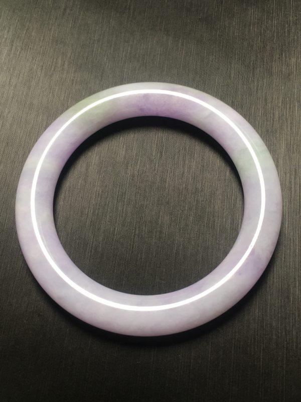糯种粉紫色翡翠手镯 天然翡翠圆条手镯
