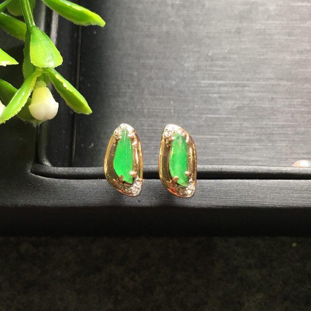 冰种阳绿 翡翠耳钉11.8*5.9*5.2mm