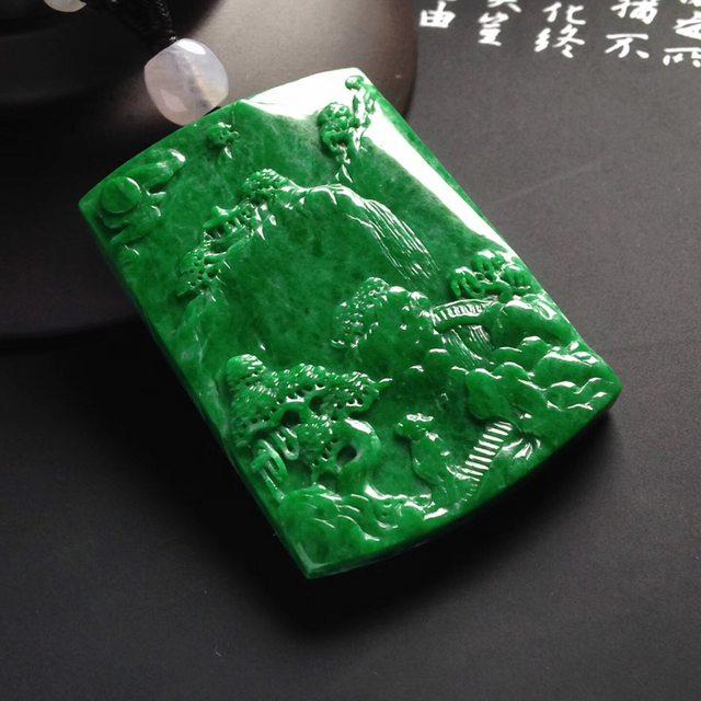 细糯种满色阳绿山水牌翡翠挂件   尺寸50-35-7毫米