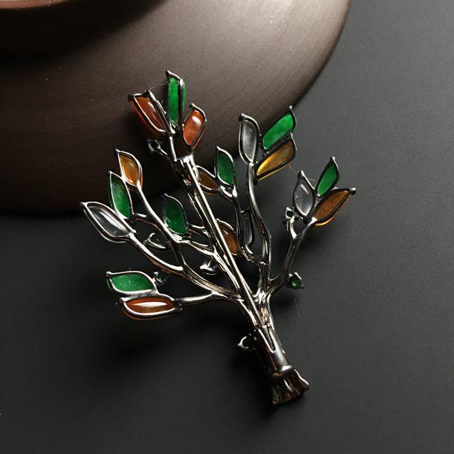 三彩圣诞树 翡翠胸针 整体尺寸49-36-7毫米图7