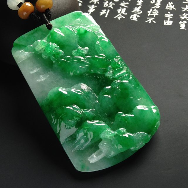 糯冰种阳绿山水牌翡翠挂件  尺寸62-39-9毫米