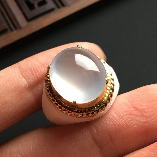 15-13.5-6寸白冰晴水 缅甸天然翡翠戒指