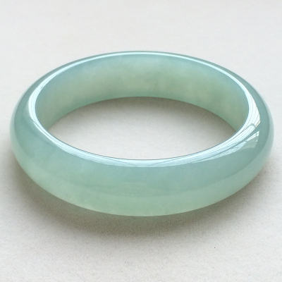 冰糯种晴水天然翡翠扁管手镯(58.1mm)