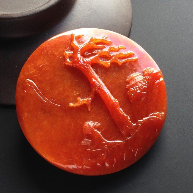 糯种红翡悠然自得吊坠  尺寸52-10.毫米