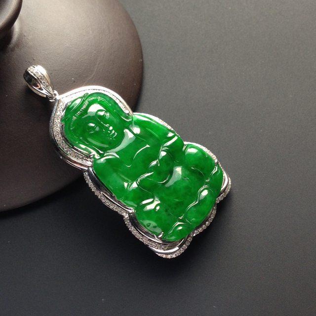 冰种阳绿翡翠观音吊坠 裸石35-20-2.5毫米