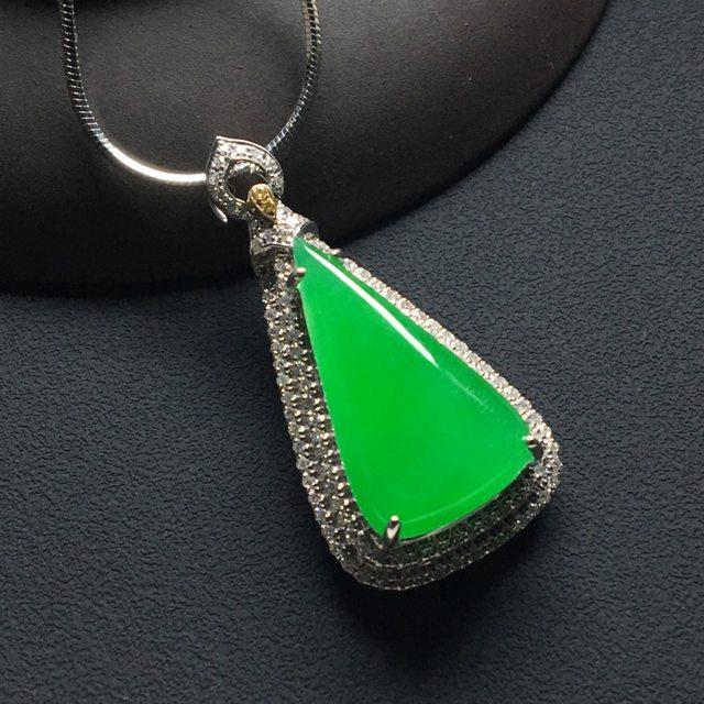 冰种满阳绿精美水滴翡翠吊坠 18k金*钻石镶嵌 整体尺寸:33.8-16.6-9*裸石21-11.7-4毫米