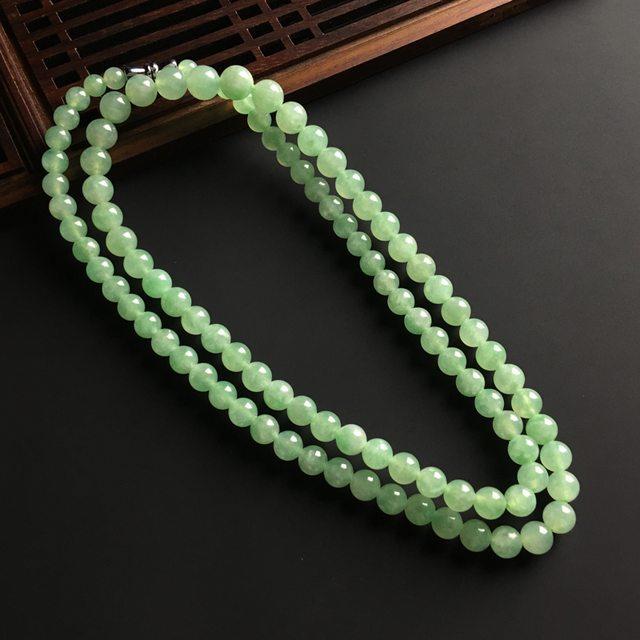 晴绿翡翠佛珠项链 直径大7 小5.5毫米