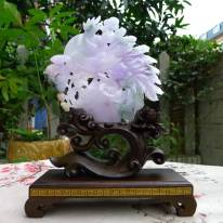 翡翠冰糯春带彩紫罗兰摆件