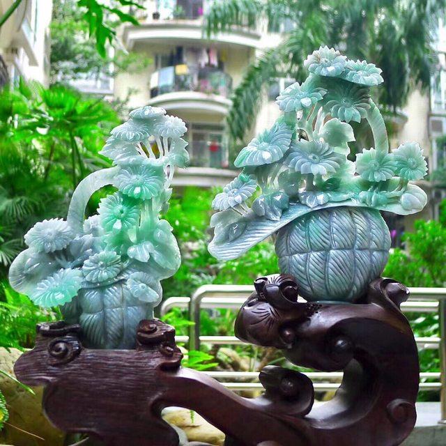 老坑翡翠A货 水润飘阳绿 花开富贵花瓶精品摆件