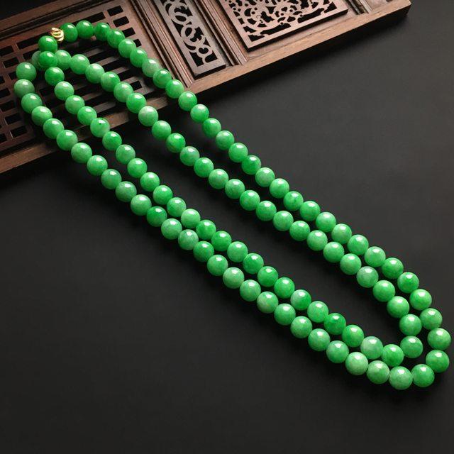 冰润阳绿天然翡翠项链 直径7毫米