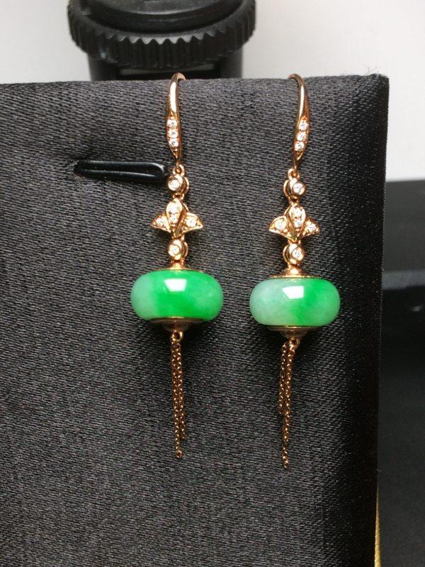 冰糯种飘绿 翡翠耳坠 纯18k金钻石镶嵌