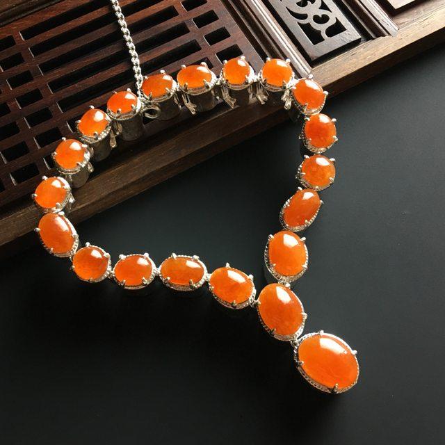 糯冰红翡铜托项链 10-8-3*6-4.5-3mm