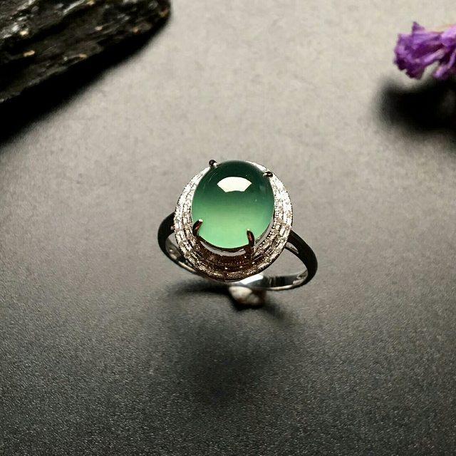 10.5-9-4mm冰种晴水 缅甸天然翡翠戒指