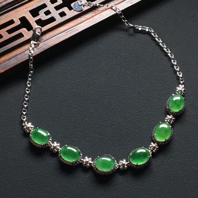 冰种满绿翡翠手链8-6-2.5mm