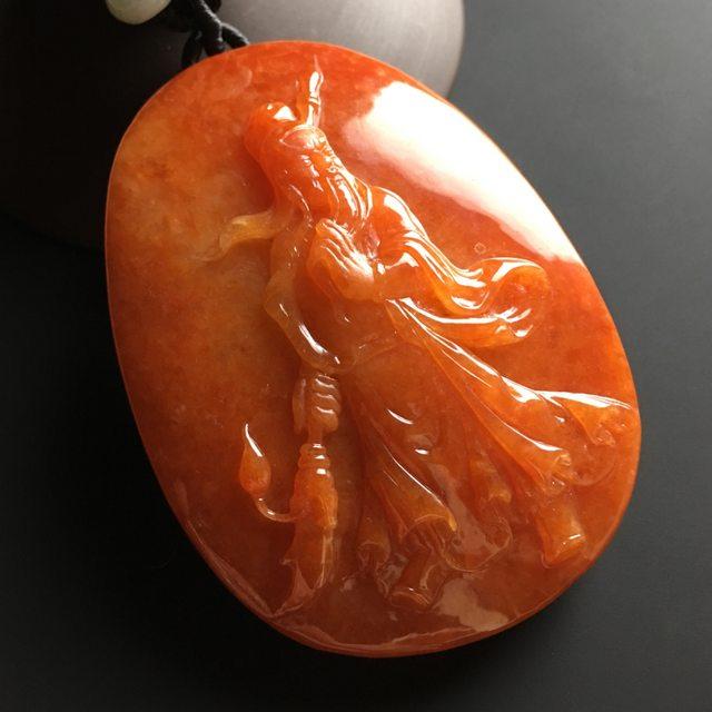 红翡关公 翡翠挂件 尺寸69-48-18毫米