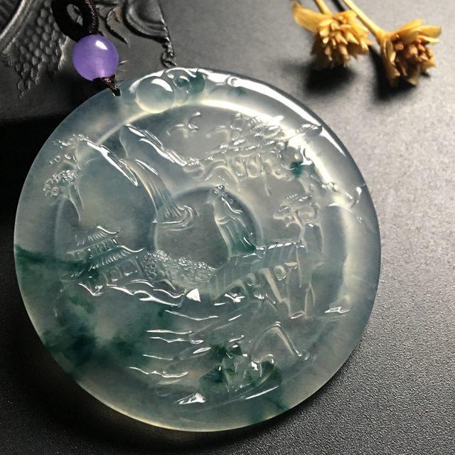 冰种飘花游山玩水翡翠挂件 尺寸51-5毫米