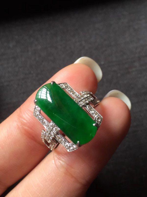 冰种辣色帝王绿 缅甸天然翡翠戒指