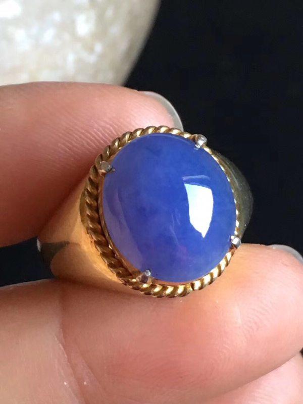 老坑冰种 紫罗兰缅甸天然翡翠戒指