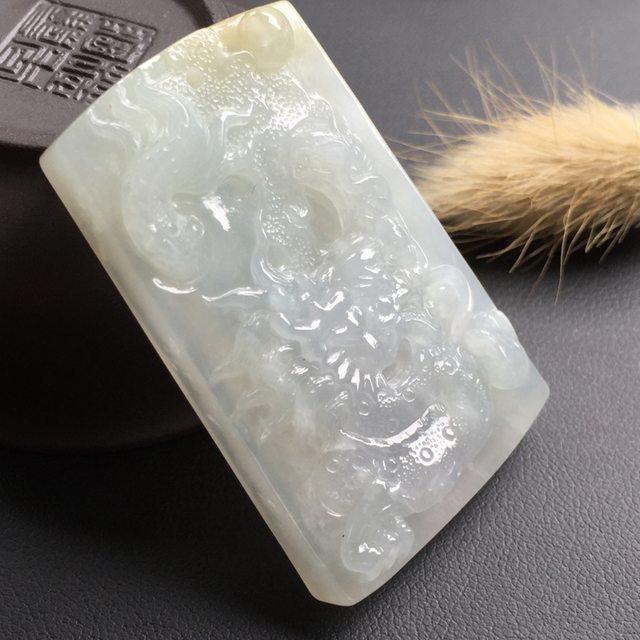 冰糯种龙牌翡翠挂件
