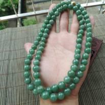 豆种满绿翡翠珠链 珠子取大9.8mm