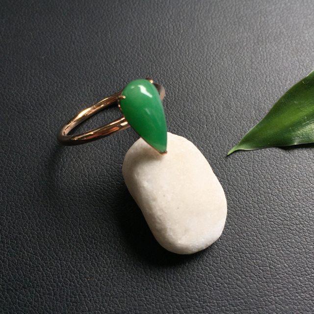 冰种满绿 水滴形 翡翠戒指