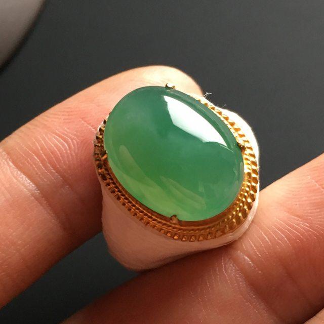 16-13-6寸冰种晴绿 缅甸天然翡翠戒指