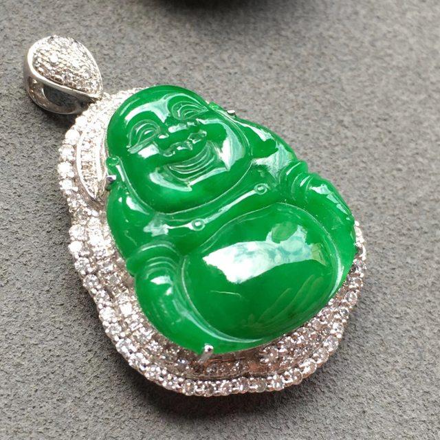 冰种满绿佛公翡翠吊坠 18k白金奢华钻石镶嵌豪华镶嵌 大小:19.4*16.9*4mm