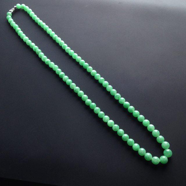 冰种绿底翡翠项链大7毫米