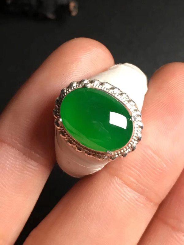 高冰帝王绿 翡翠戒指13-9.5-3.2毫米