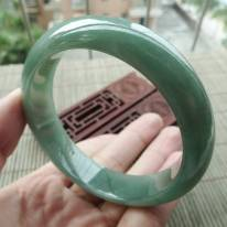 A货翡翠手镯 冰油满绿正装手镯58.5mm