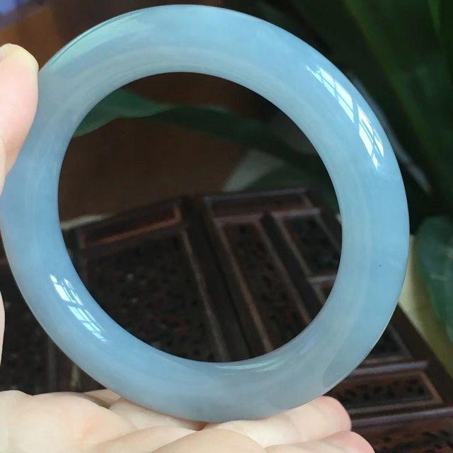 天然A货翡翠手镯 冰糯种紫罗兰圆条手镯 尺寸56*11.5图1