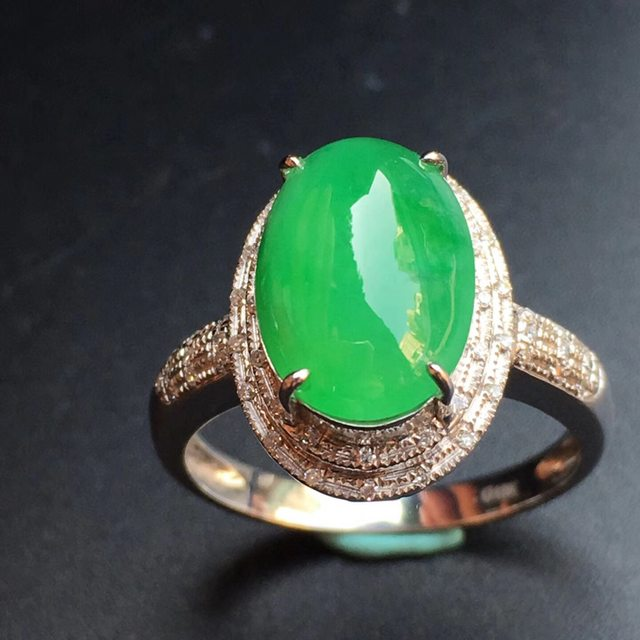 12.4*8.5*4mm冰种阳绿 缅甸天然翡翠戒指