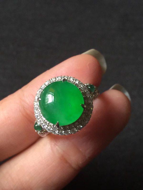高冰种近玻璃种 鲜阳绿黄阳 缅甸天然翡翠戒指