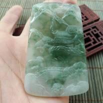 冰糯种飘绿 山清水秀翡翠挂件 5.9-40.8-4.9mm