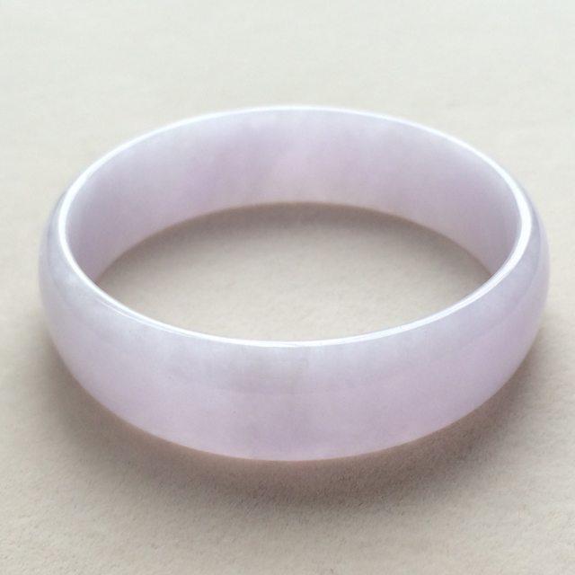冰糯种粉紫翡翠手镯  缅甸天翡翠福镯 尺寸:51.6*14.8*4.6mm